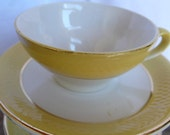 antique coffee cups, espresso, yellow and white, gold, tea, moulin des loups, French vintage housewares by ancienesthetique on etsy