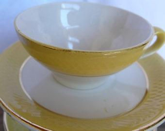 Yellow Antique Coffee Cups, espresso demi tasse, yellow and white, gold teacups, moulin des loups, antique cups, French vintage housewares