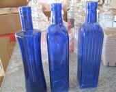 3- COBALT / bLUE Decorative Colored glass bottles, floral Bud vase, vintage inspired, Home Decor,
