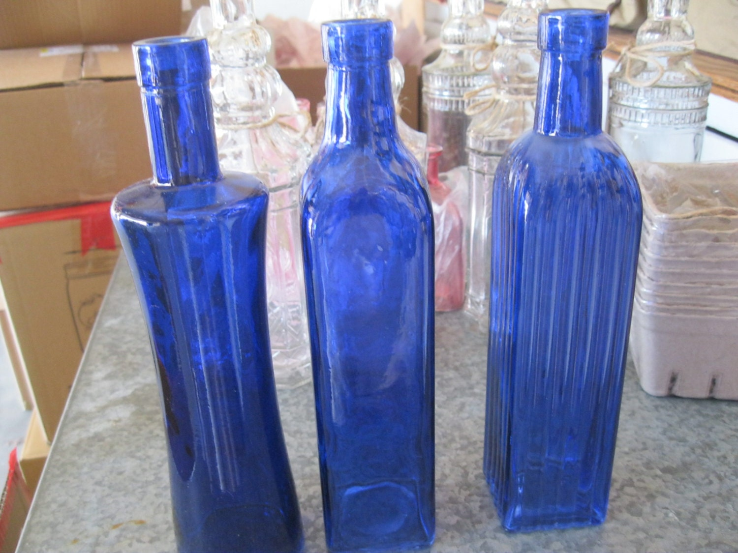 3 cobalt blue decorative colored glass bottles floral bud for Decorative vials