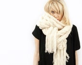 PDF Knitting PATTERN - Giant Cable Scarf with Fringe