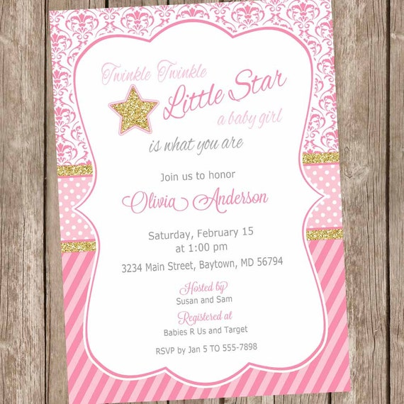 Twinkle twinkle little star baby shower invitations star baby