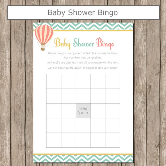 Hot Air Balloon Baby Shower Bingo In Coral Teal And Yellow Baby