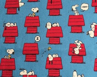 One yard Manga Snoopy fabric blue colour