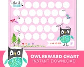 Kids Reward Chart  - Owl - Behavior Chart - Potty Training - Watercolor - Instant Download