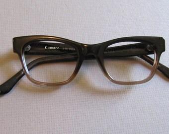 Vintage 1960s Browline Ombre Fade Eyeglasses. 60s Sixties Brown Ombre Vintage Eyewear. Small Medium