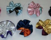 Lot of 100  2-color Ruffled Satin Flowers mix or match - Floral decor, sewing projects, weddings, birthdays, DIY, Hair Accessories