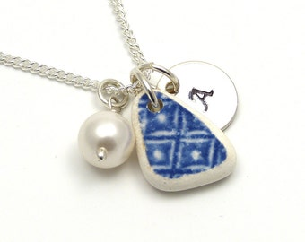 Personalized Beach Pottery Necklace - Handstamped Sterling Silver for Mother, Sister, Wife, Friendship, Bridesmaid ...