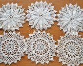 6 Crocheted Vintage Doilies, Snowflake Style Doilies, Crocheted Coasters, Four Inch Craft Doilies