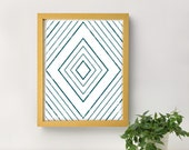 Geometric Diamond Printable Art Poster / Teal and White Wall Decor, Office / 8x10 Image, Illustration / Colorful & Modern Decor