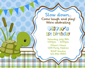 Turtle Invitation - Photo Invitation - Personalized Birthday Party or Baby Shower Invites - Printable JPEG Files #1-2
