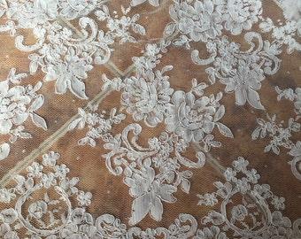 Cream White Alencon Lace Fabric Wedding Lace Fabric Dress Coat Fabric 53 Inches Wide 1/2 Yard