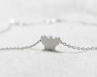 Simple silver Butterfly Necklace - S2346-1