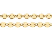 14Kt Gold Filled 4mm Plain Flat Sequin Disc chain - 20ft (5318-20) Made in USA 30% discounted LOWEST PRICE wholesale quantity High Quality