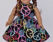 Handmade Black Peace Sign and Dots Dress Fits American Girl Doll