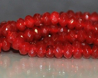 Half Strand 4x3mm Faceted Red Color Rondelle Agate Gemstone Beads - 69 beads