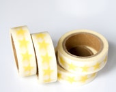 50% OFF SALE - 1 Roll of Yellow Stars Masking Tape / Japanese Washi Tape (.60 inches x 33 feet)