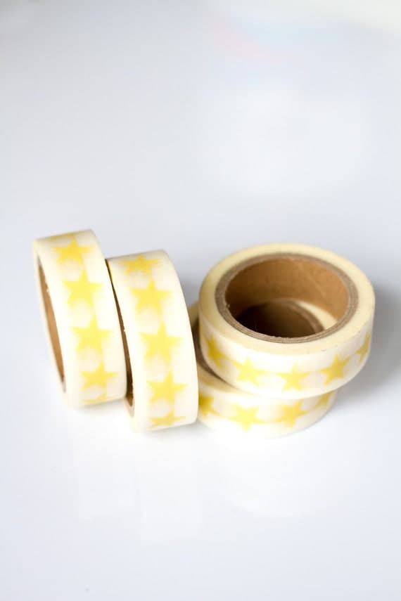 WASHI TAPE CLEARANCE - 1 Roll of Yellow Stars Masking Tape / Japanese Washi Tape (.60 inches x 33 feet)