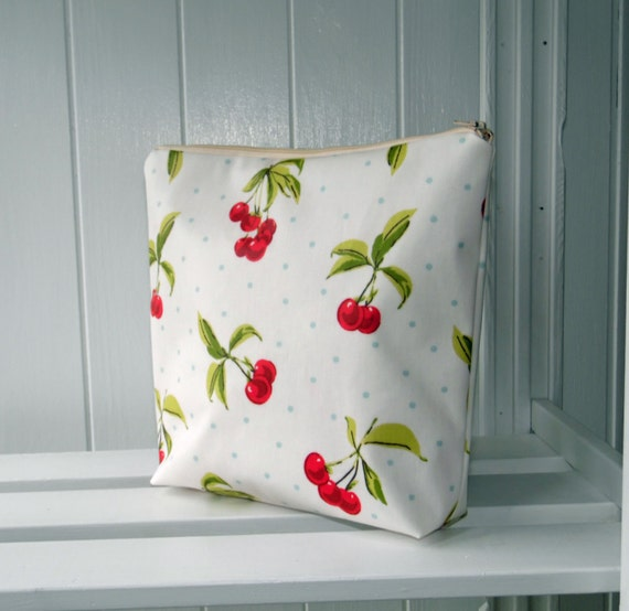 Cherry print large cosmetic bag wash bag in oilcloth type fabric