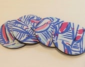 4 Coasters made with Lilly Pulitzer fabric Red Right Return