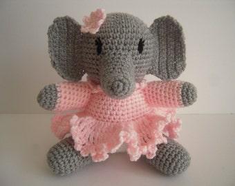 Crocheted Amigurumi Stuffed Girl Elephant in Dress