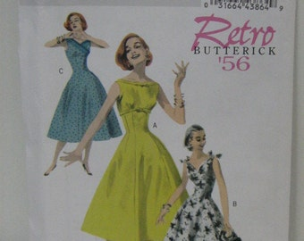 Retro Style Dress Pattern, Uncut, Butterick 5603, Vintage Style Sleeveless Summer Dress, 1956 Dress Pattern, Women's SZ 14 through 20