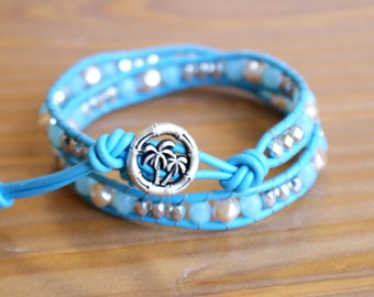 Blue Beaded leather wrap bracelet, silver, pearl, Bohemian wedding, boho chic, gift idea, trendy jewelry, hipster, palm three, SALE