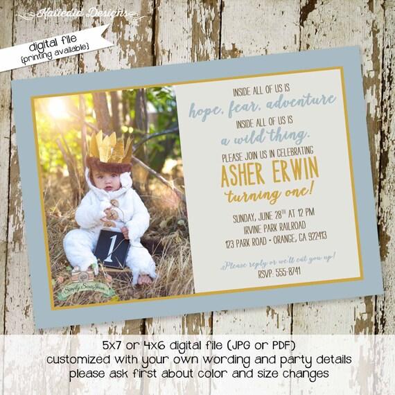 the wild things are invitations birthday baby boy shower invitation
