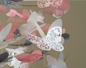 Flourish Butterfly Mobile in Blush, Light Gray and white,  Baby Nursery, Kids Room, baby girl nursery mobile, photo prop, nursery mobile