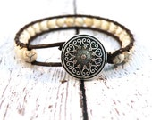 Boho Many Hearts White Howlite on Brown Leather Wrap Bracelet/ Much Loved/ Urban Modern Boho Chic/ OOAK/ Custom Fit/ Ready to Ship