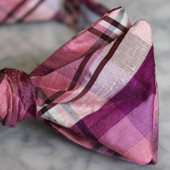 Bow Tie in Berry Pink Silk Plaid - self tying, pre-tied adjustable or clip on