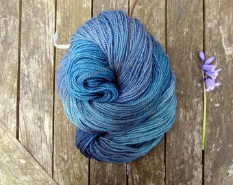 Blue Hand Dyed Sock Yarn - British Breed Sock Yarn - Yorkshire Rose BFL Sock Yarn - 110g - machine washable wool
