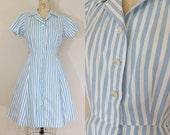 1940s Day Dress • EASY BREEZY DRESS • Vintage 50s Blue and White Striped Dress • Cotton Dress • Medium