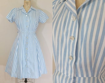 1940s Day Dress • EASY BREEZY DRESS • Vintage 50s Blue and White Striped Dress • Cotton Dress • Medium