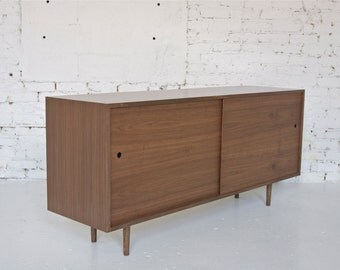 "64"" Mid Century Modern Inspired Hand Crafted Dark Walnut Credenza // Record Cabinet // Bookshelf with Sliding Pegboard Doors  - Custom"