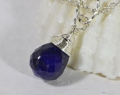 Genuine Sapphire Wire wrapped Pendant Birthstone Pendant Add Dangles , Charm Pendnat, Wire wrapped Briolette, Navy Blue Sapphire