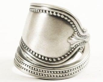"Milgrain Ring, Sterling Silver Spoon Ring, Minimalist Silver Ring, Vintage Towle ""Old Newbury"" ca 1900, Handmade Adjustable Ring Size (5830)"
