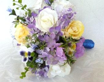 Silk bridal bouquet crème white roses lavender hydrangea garden flower accents wedding bouquet and boutonniere set