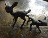 Vintage English metal deer fawn figurine statue sculpture circa 1960's / English Shop