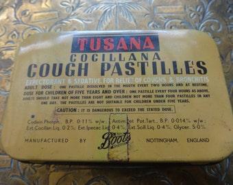 Vintage English Tusana Boots cough medicine tin box storage container circa 1950's / English Shop