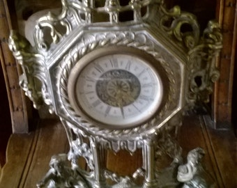 Vintage English Brass Lovers Metal Faulty Mantlepiece Clock circa 1920's / English Shop