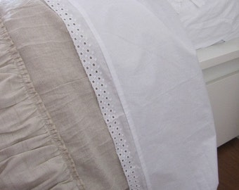 Solid white cotton flat sheet-eyelet lace trim-shabby cottage chic bedding-Twin Full-Queen 120x120 inch Super King size Bed top flat sheet