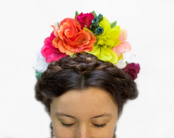 Frida Kahlo Flower Crown, Floral, Headpiece, Day of the Dead, Orange, Flower Headband, Mexican, Flower Crown, Boho, Fiesta, Floral Crown