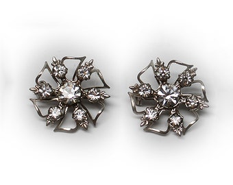 Pair of Vintage Clear Rhinestone Floral Brooches