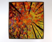 Quilted Wall Hanging  LOOKING UP Art Quilt  Autumn Trees  Original