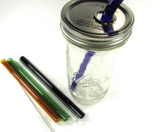 Smoothie Mason Jar To Go Cup with Glass Straw- 24 ounce