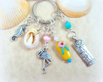 Beach Key Chain - Sea Shell Key Chain - Purse Charm - Beach Bag Charm - Flip Flop Key Chain - Key Fob - Beach Purse Charm
