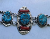Navajo turquoise and coral bracelet    VJSE