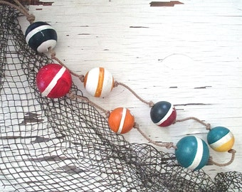 Nautical Styrofoam Buoys on Rope. Beach Cottage by searchnrescue2