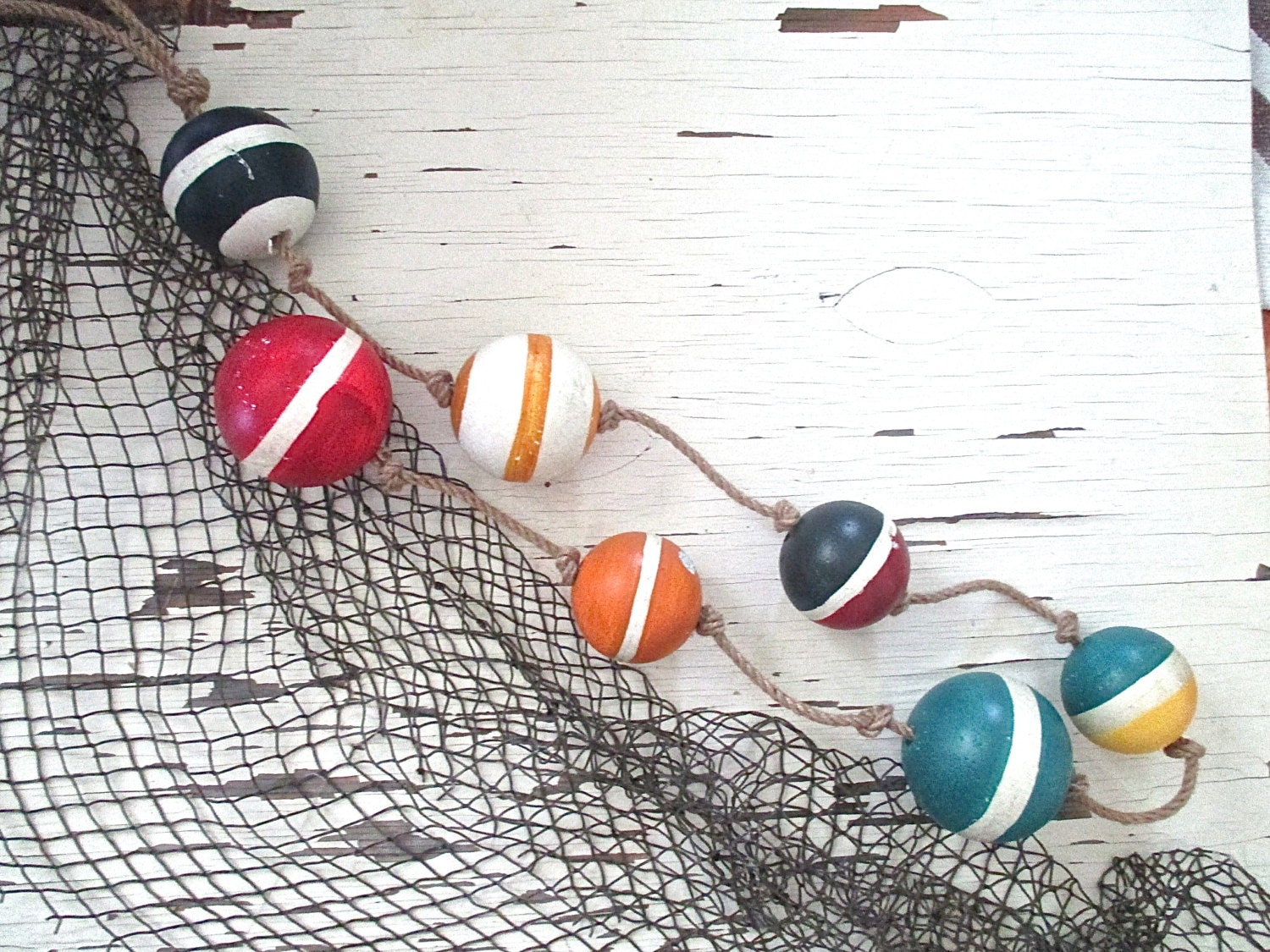 Seaside sale nautical styrofoam buoys on rope beach cottage for Heavy rope for nautical use
